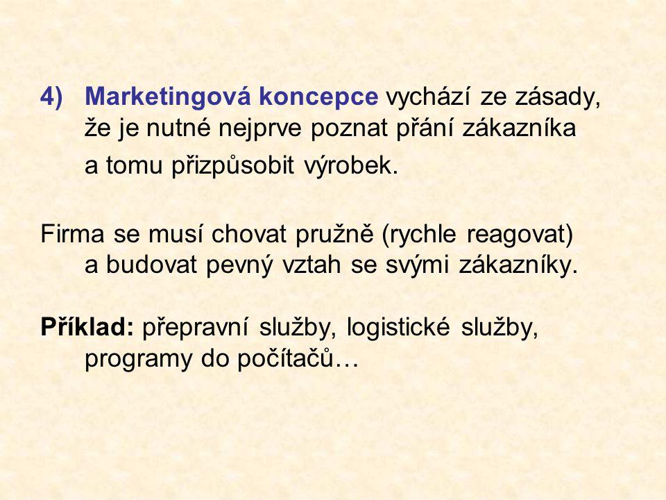 4)Marketingová koncepce vychází ze zásady, že je nutné nejprve poznat přání zákazníka a tomu přizpůsobit výrobek.