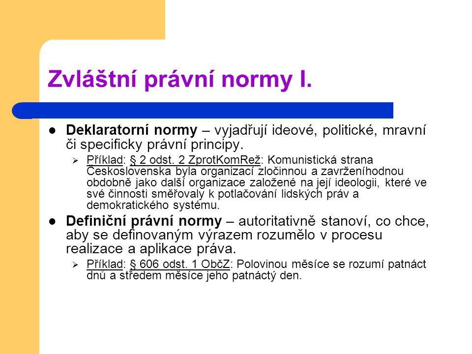Zvláštní právní normy II.