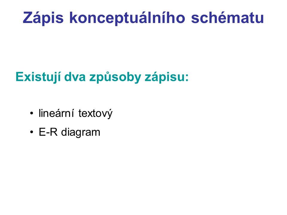 Zápis konceptuálního schématu Existují dva způsoby zápisu: lineární textový E-R diagram
