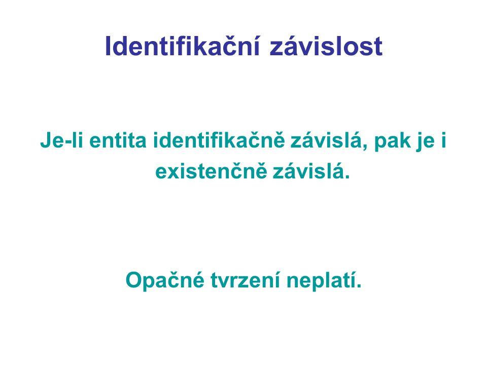 Identifikační závislost Je-li entita identifikačně závislá, pak je i existenčně závislá.