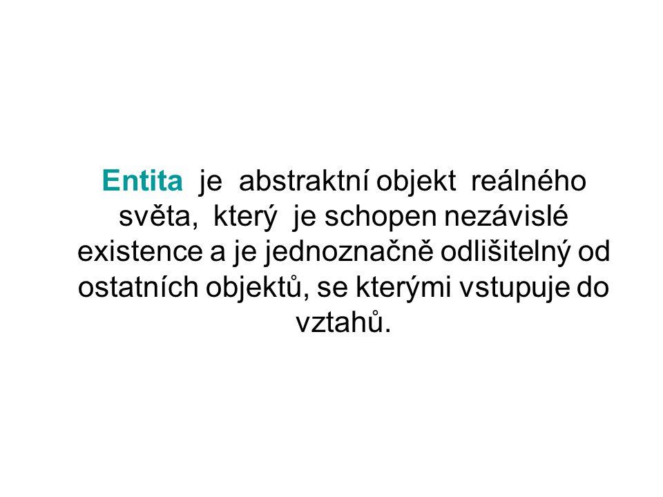 Entita je abstraktní objekt reálného světa, který je schopen nezávislé existence a je jednoznačně odlišitelný od ostatních objektů, se kterými vstupuje do vztahů.