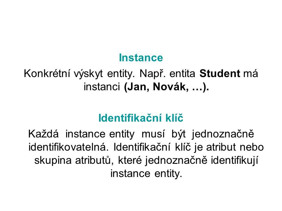 Příklad identifikačního klíče Student (osobni_cislo, jmeno, prijmeni, datum_narozeni) Mezi těmito atributy je nejvhodnějším kandidátem na IK osobni_cilo, protože se předpokládá, že každý student má jiné osobní číslo.