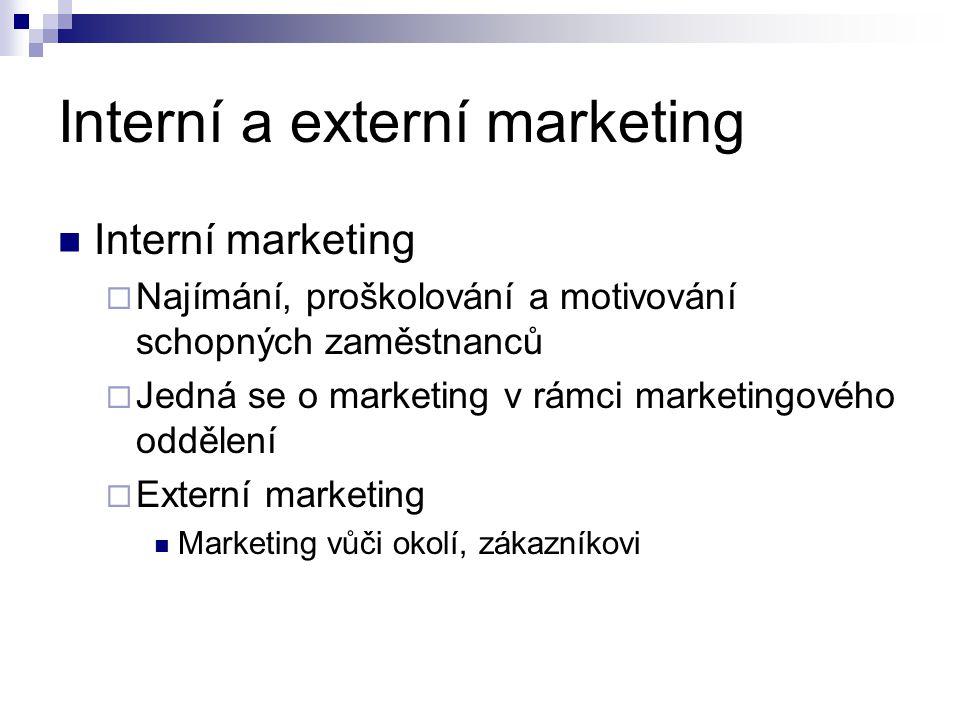 Interní a externí marketing Interní marketing  Najímání, proškolování a motivování schopných zaměstnanců  Jedná se o marketing v rámci marketingovéh