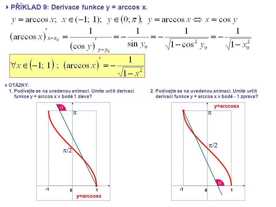  PŘÍKLAD 9: Derivace funkce y = arccos x.  OTÁZKY: 1. Podívejte se na uvedenou animaci. Umíte určit derivaci funkce y = arccos x v bodě 1 zleva? 2.