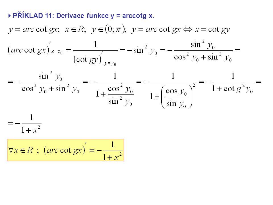  PŘÍKLAD 11: Derivace funkce y = arccotg x.