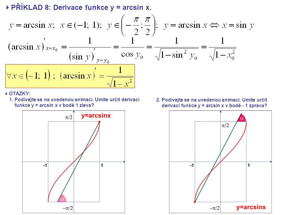  PŘÍKLAD 8: Derivace funkce y = arcsin x.  OTÁZKY: 1. Podívejte se na uvedenou animaci. Umíte určit derivaci funkce y = arcsin x v bodě 1 zleva? 2.