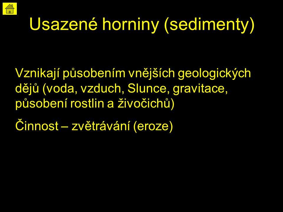 Usazené horniny (sedimenty) Vznikají působením vnějších geologických dějů (voda, vzduch, Slunce, gravitace, působení rostlin a živočichů) Činnost – zvětrávání (eroze)