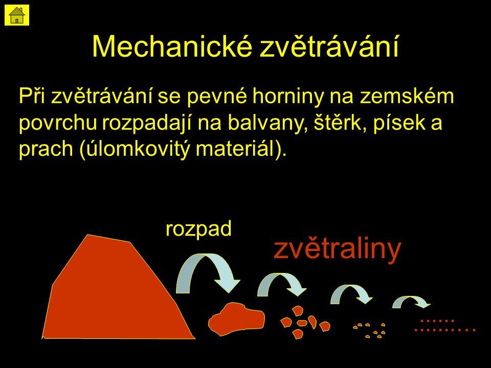 Při zvětrávání se pevné horniny na zemském povrchu rozpadají na balvany, štěrk, písek a prach (úlomkovitý materiál)..::::::… zvětraliny rozpad Mechanické zvětrávání