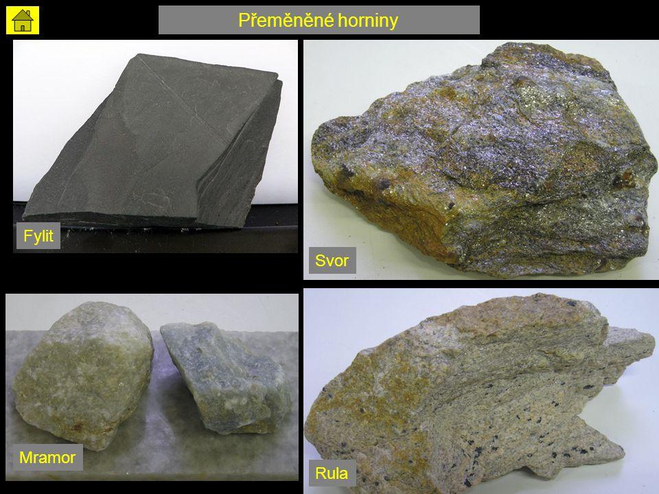 Fylit Svor Rula Mramor Přeměněné horniny
