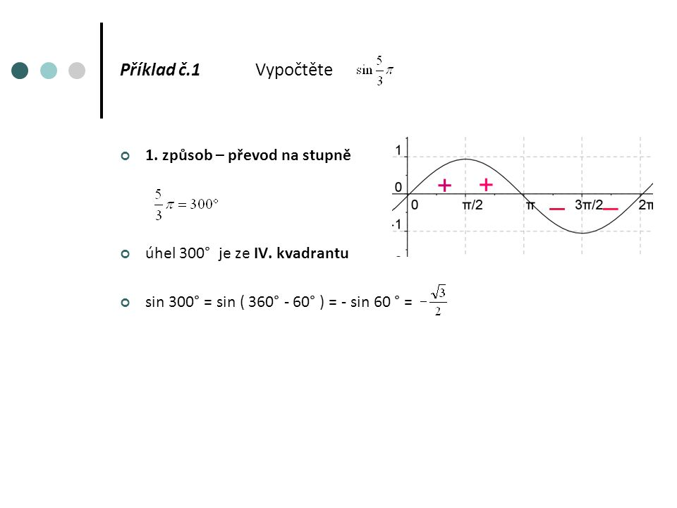 Příklad č.1Vypočtěte 1. způsob – převod na stupně úhel 300° je ze IV.