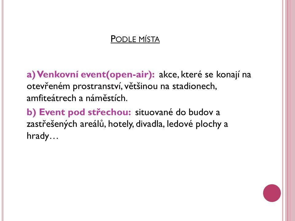 P ODLE MÍSTA a) Venkovní event(open-air): akce, které se konají na otevřeném prostranství, většinou na stadionech, amfiteátrech a náměstích.