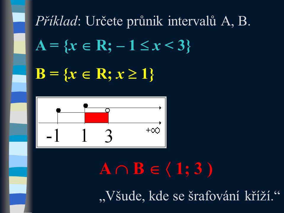 """Příklad: Určete průnik intervalů A, B. A = {x  R; – 1  x < 3} B = {x  R; x  1} A  B   1; 3 ) """"Všude, kde se šrafování kříží."""""""