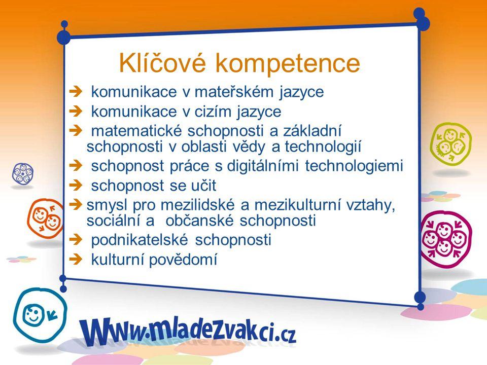 Klíčové kompetence è komunikace v mateřském jazyce è komunikace v cizím jazyce è matematické schopnosti a základní schopnosti v oblasti vědy a technol