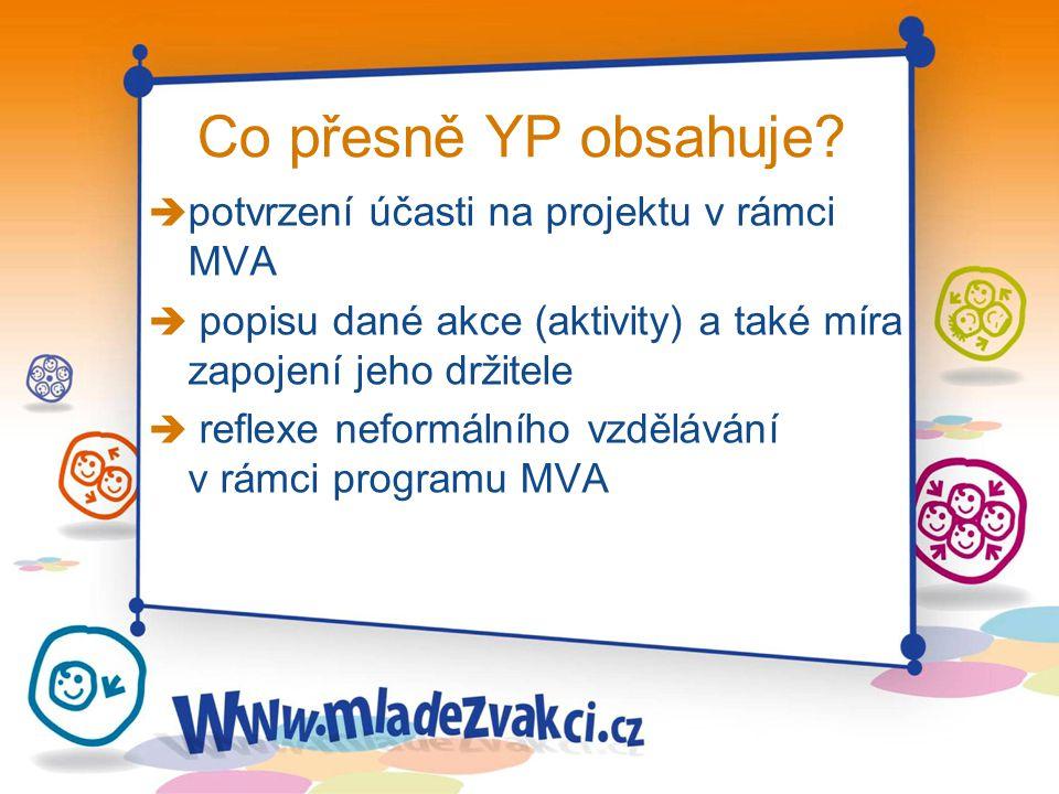 Co přesně YP obsahuje? è potvrzení účasti na projektu v rámci MVA è popisu dané akce (aktivity) a také míra zapojení jeho držitele è reflexe neformáln
