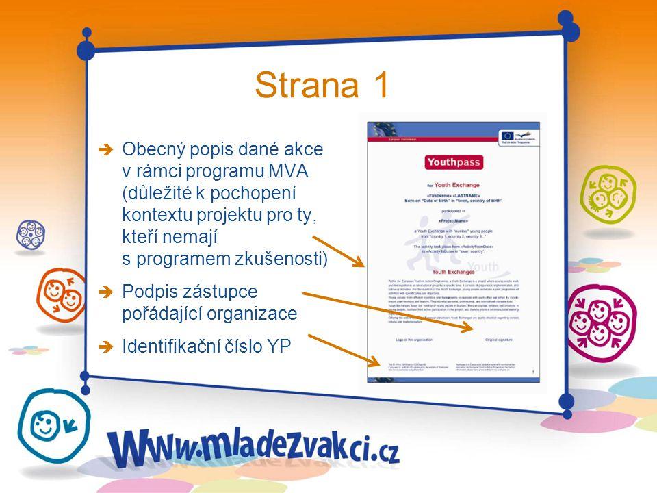 Strana 1 è Obecný popis dané akce v rámci programu MVA (důležité k pochopení kontextu projektu pro ty, kteří nemají s programem zkušenosti) è Podpis z