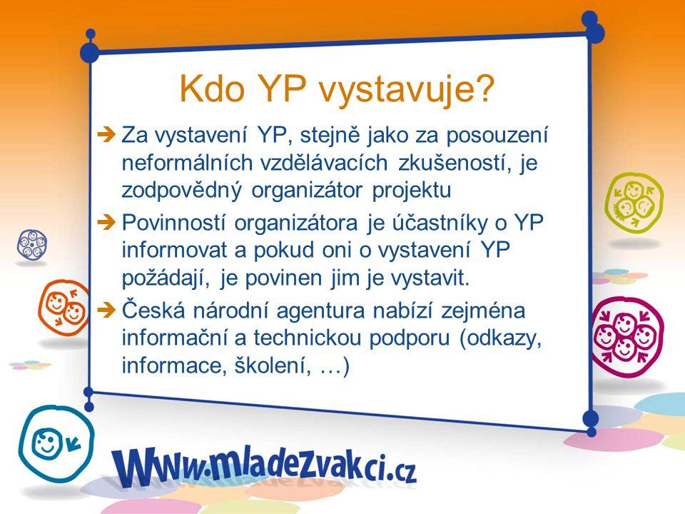 Kdo YP vystavuje? è Za vystavení YP, stejně jako za posouzení neformálních vzdělávacích zkušeností, je zodpovědný organizátor projektu è Povinností or
