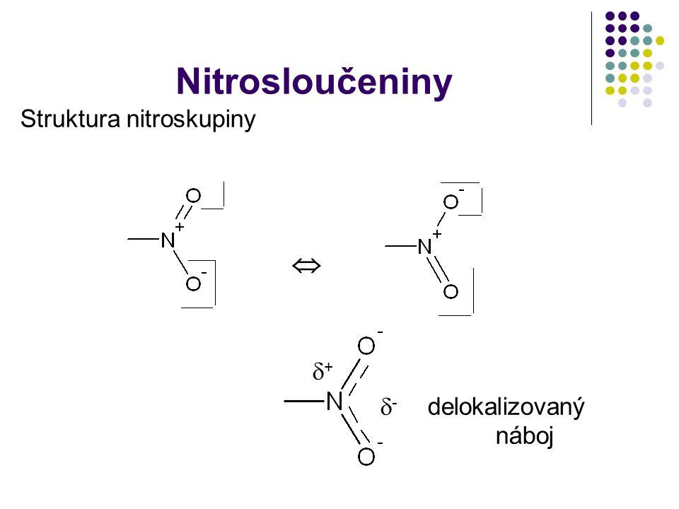 Nitrosloučeniny Struktura nitroskupiny   +  - delokalizovaný náboj