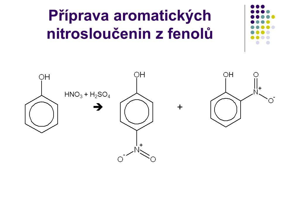 Příprava aromatických nitrosloučenin z fenolů HNO 3 + H 2 SO 4  +