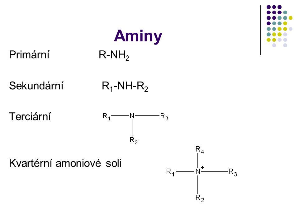 Aminy PrimárníR-NH 2 Sekundární R 1 -NH-R 2 Terciární Kvartérní amoniové soli