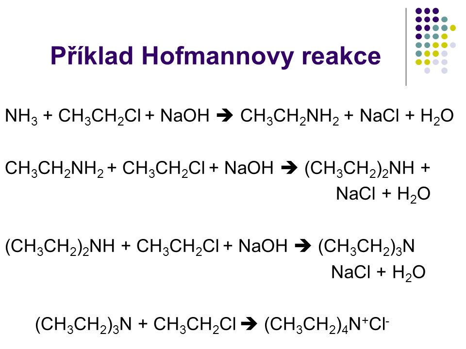 Příklad Hofmannovy reakce NH 3 + CH 3 CH 2 Cl + NaOH  CH 3 CH 2 NH 2 + NaCl + H 2 O CH 3 CH 2 NH 2 + CH 3 CH 2 Cl + NaOH  (CH 3 CH 2 ) 2 NH + NaCl + H 2 O (CH 3 CH 2 ) 2 NH + CH 3 CH 2 Cl + NaOH  (CH 3 CH 2 ) 3 N NaCl + H 2 O (CH 3 CH 2 ) 3 N + CH 3 CH 2 Cl  (CH 3 CH 2 ) 4 N + Cl -