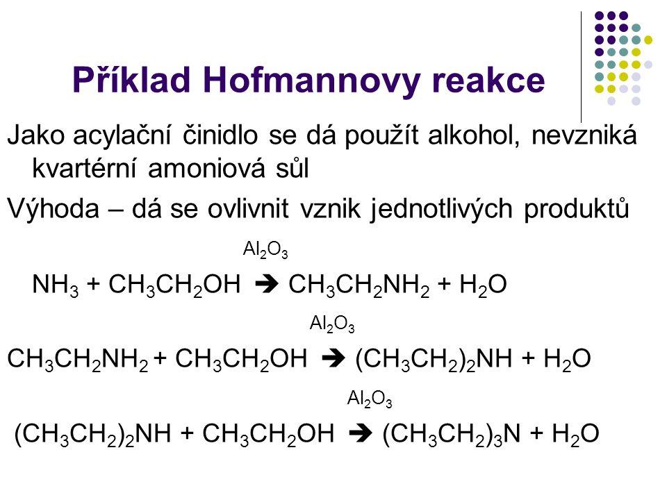 Příklad Hofmannovy reakce Jako acylační činidlo se dá použít alkohol, nevzniká kvartérní amoniová sůl Výhoda – dá se ovlivnit vznik jednotlivých produ