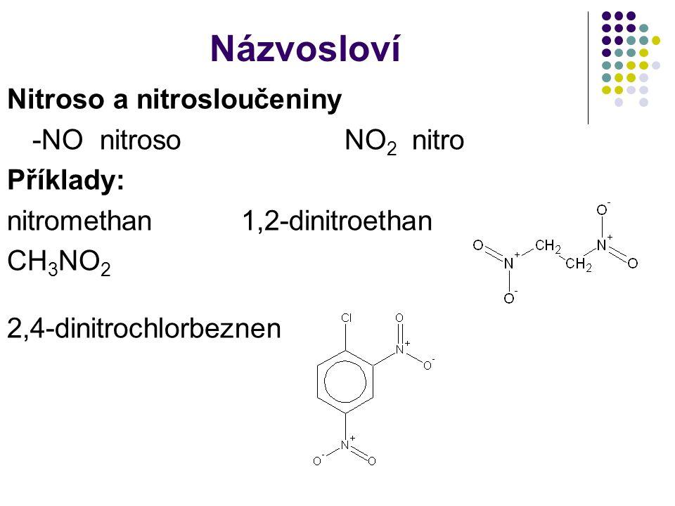 Názvosloví Nitroso a nitrosloučeniny -NO nitrosoNO 2 nitro Příklady: nitromethan 1,2-dinitroethan CH 3 NO 2 2,4-dinitrochlorbeznen