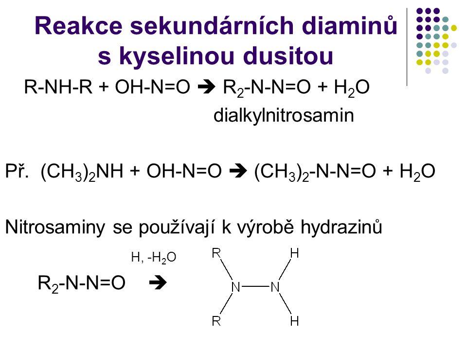 Reakce sekundárních diaminů s kyselinou dusitou R-NH-R + OH-N=O  R 2 -N-N=O + H 2 O dialkylnitrosamin Př. (CH 3 ) 2 NH + OH-N=O  (CH 3 ) 2 -N-N=O +