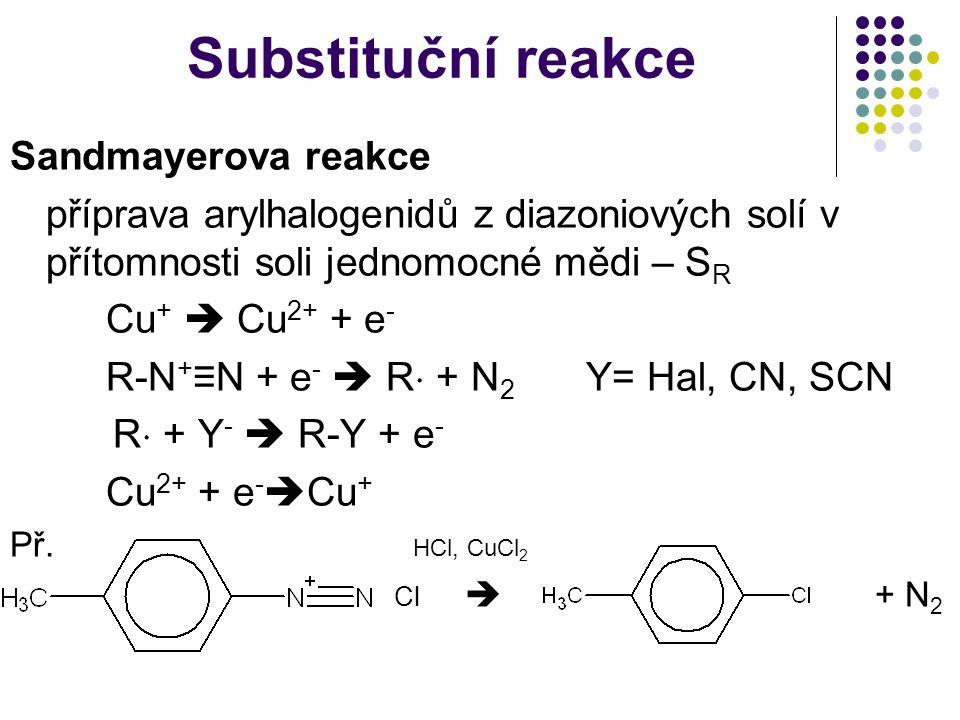 Substituční reakce Sandmayerova reakce příprava arylhalogenidů z diazoniových solí v přítomnosti soli jednomocné mědi – S R Cu +  Cu 2+ + e - R-N + ≡