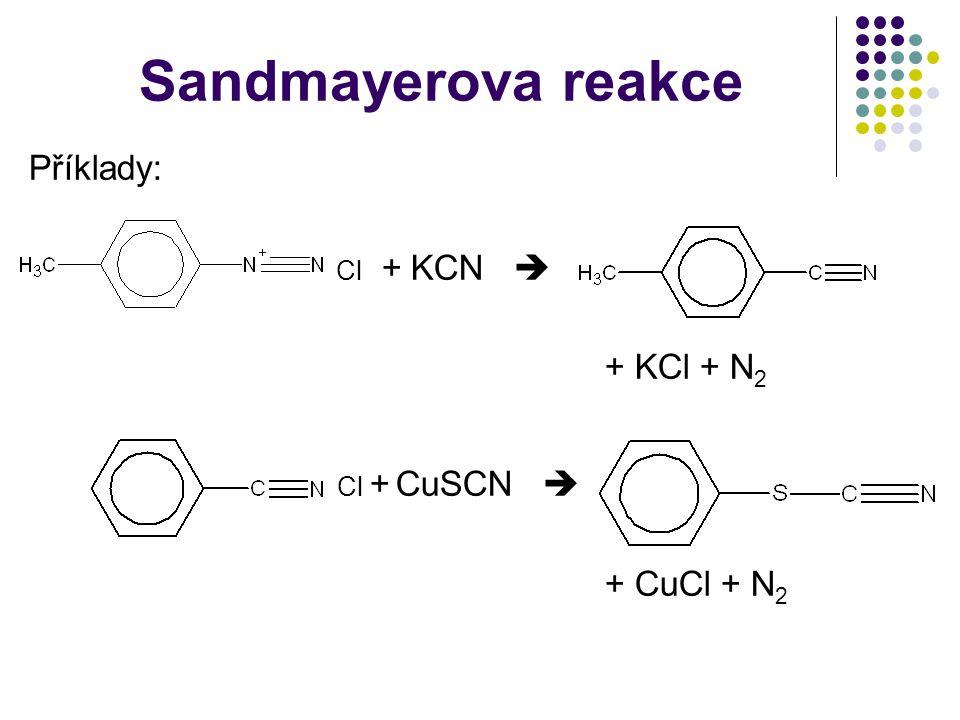 Sandmayerova reakce Příklady: Cl + KCN  + KCl + N 2 Cl + CuSCN  + CuCl + N 2