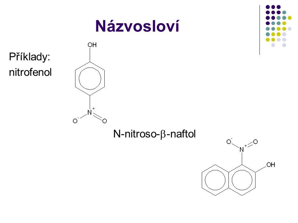 Názvosloví Příklady: nitrofenol N-nitroso-  -naftol