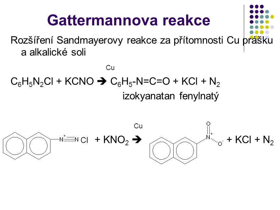 Gattermannova reakce Rozšíření Sandmayerovy reakce za přítomnosti Cu prášku a alkalické soli Cu C 6 H 5 N 2 Cl + KCNO  C 6 H 5 -N=C=O + KCl + N 2 izo