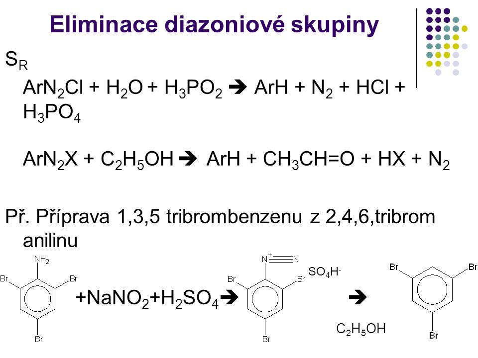 Eliminace diazoniové skupiny S R ArN 2 Cl + H 2 O + H 3 PO 2  ArH + N 2 + HCl + H 3 PO 4 ArN 2 X + C 2 H 5 OH  ArH + CH 3 CH=O + HX + N 2 Př. Přípra