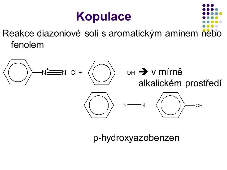 Kopulace Reakce diazoniové soli s aromatickým aminem nebo fenolem Cl +  v mírně alkalickém prostředí p-hydroxyazobenzen