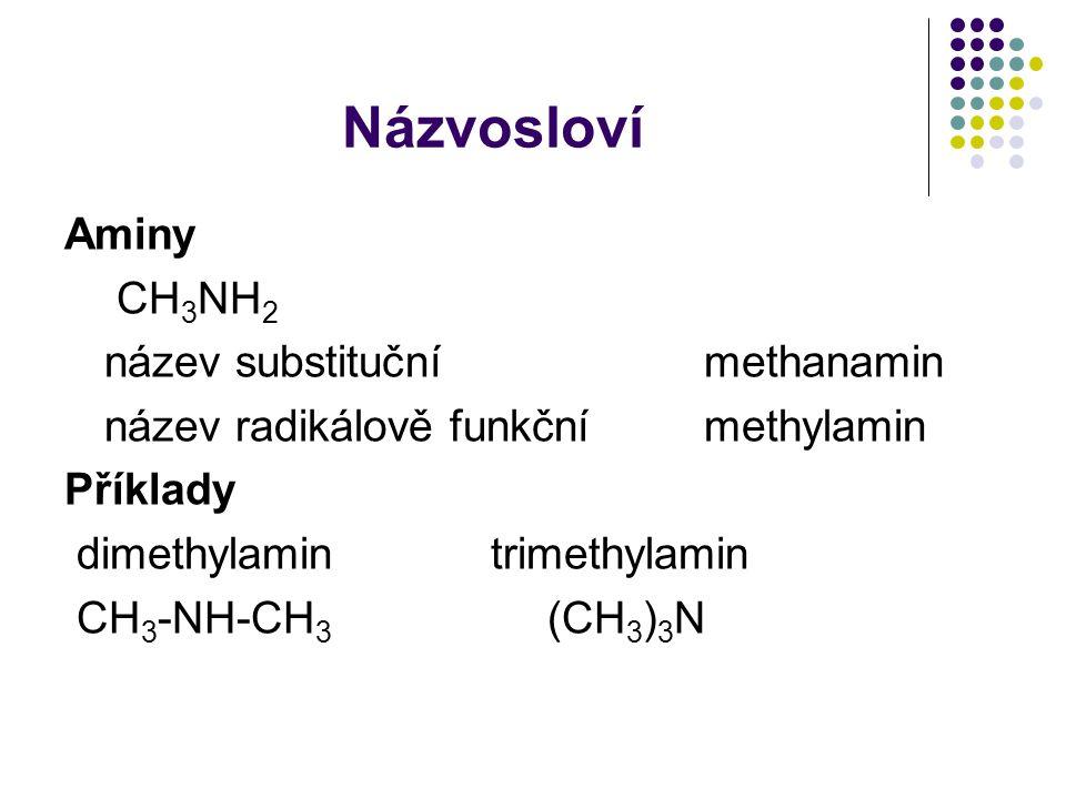 Názvosloví Aminy CH 3 NH 2 název substituční methanamin název radikálově funkční methylamin Příklady dimethylamintrimethylamin CH 3 -NH-CH 3 (CH 3 ) 3