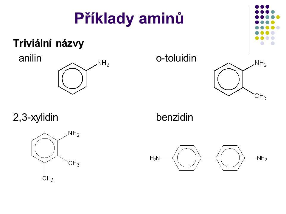 Příklady aminů Triviální názvy anilino-toluidin 2,3-xylidinbenzidin