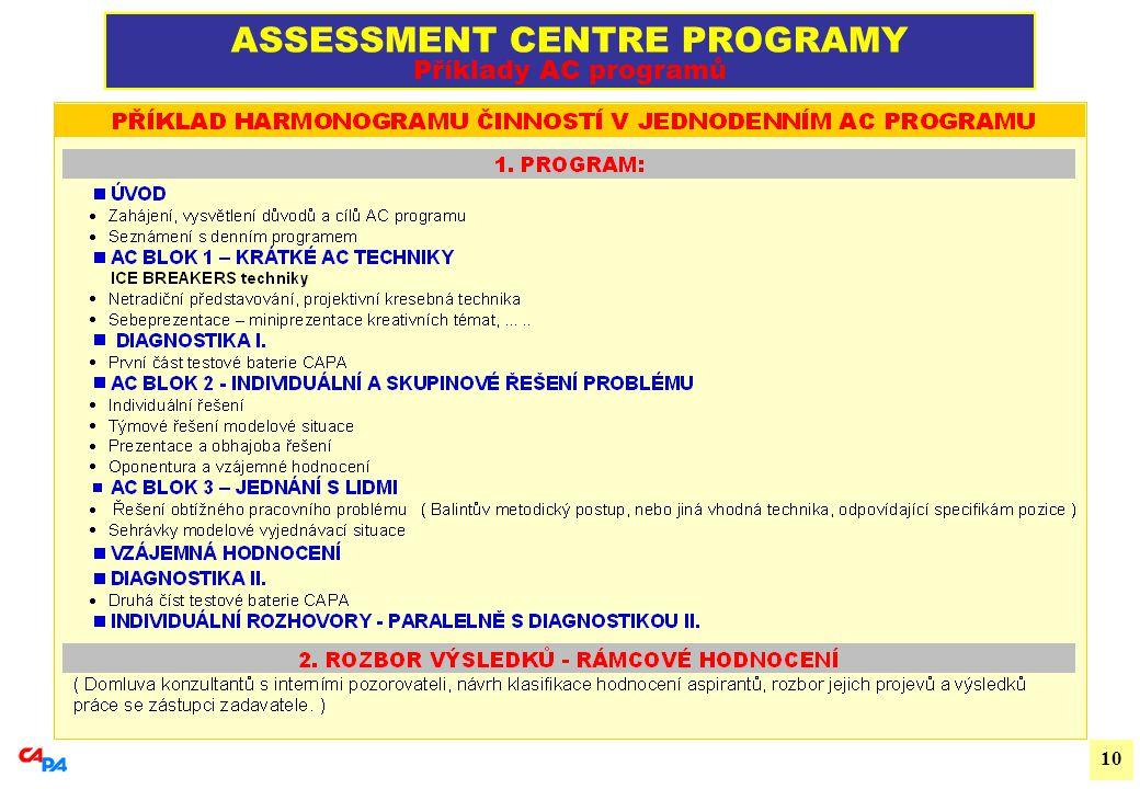 10 ASSESSMENT CENTRE PROGRAMY Příklady AC programů