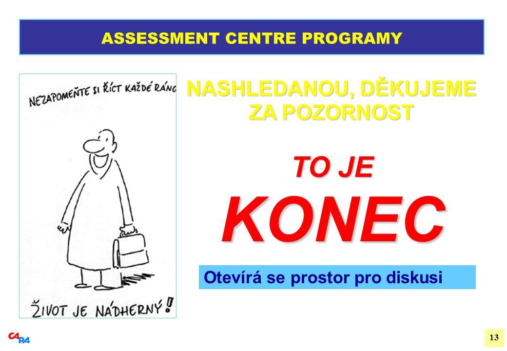 13 TO JE KONEC ASSESSMENT CENTRE PROGRAMY NASHLEDANOU, DĚKUJEME ZA POZORNOST Otevírá se prostor pro diskusi