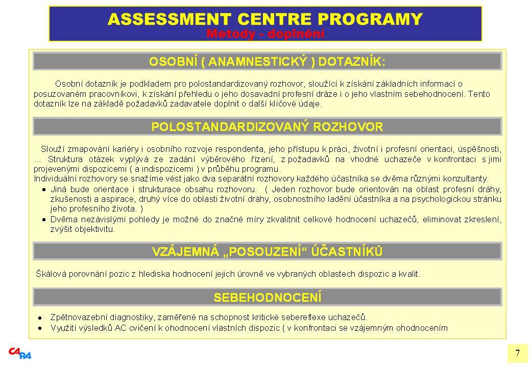 8 ASSESSMENT CENTRE PROGRAMY Specifika postupu SPECIFICKÁ ATRAKTIVITA POSTUPU:  Program sám o sobě je pro účastníky velmi náročný, vyžadující od nich vysokou míru nasazení a výkonové koncentrace.