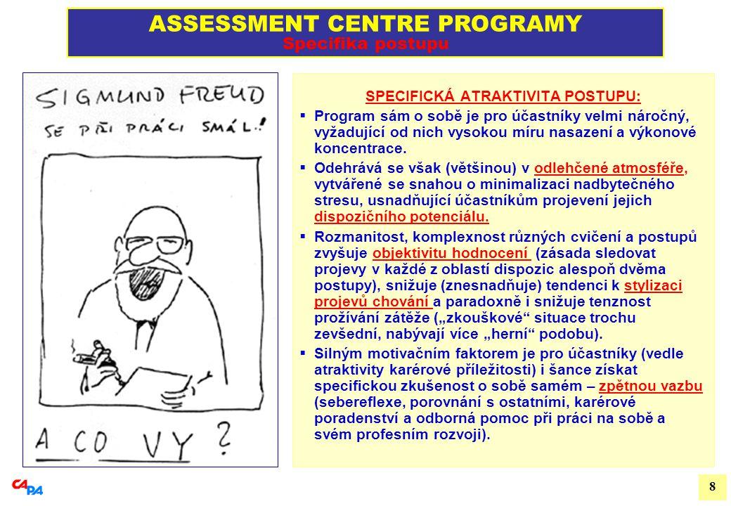 9 ASSESSMENT CENTRE PROGRAMY Příklad postupových kroků v AC programu