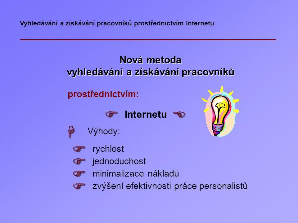 Vyhledávání a získávání pracovníků prostřednictvím Internetu Standardní metody a techniky vyhledávání a získávání pracovníků prostřednictvím:  úřadů