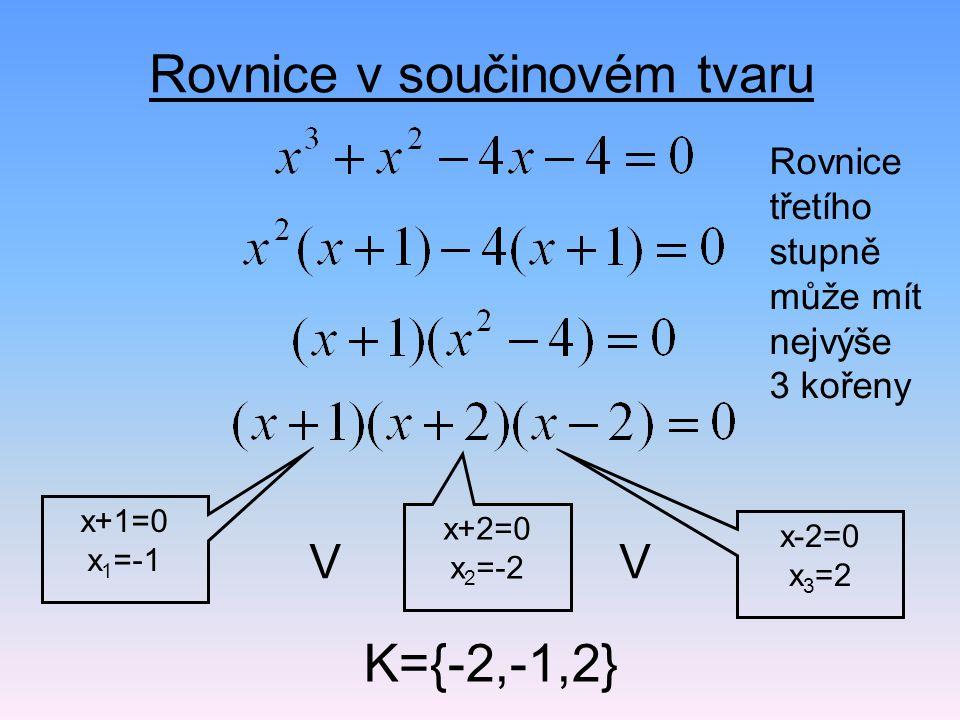 Rovnice v součinovém tvaru x+1=0 x 1 =-1 x+2=0 x 2 =-2 x-2=0 x 3 =2 VV K={-2,-1,2} Rovnice třetího stupně může mít nejvýše 3 kořeny