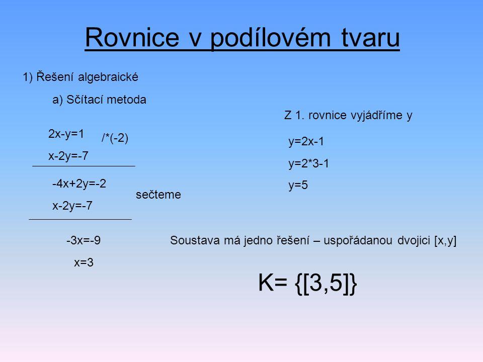 Rovnice v podílovém tvaru 1) Řešení algebraické a) Sčítací metoda 2x-y=1 x-2y=-7 /*(-2) -4x+2y=-2 x-2y=-7 sečteme -3x=-9 x=3 Z 1.