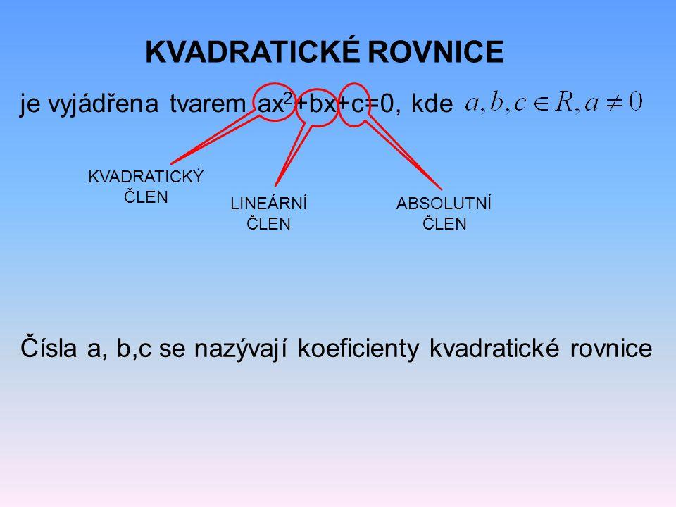 KVADRATICKÉ ROVNICE je vyjádřena tvarem ax 2 +bx+c=0, kde KVADRATICKÝ ČLEN ABSOLUTNÍ ČLEN LINEÁRNÍ ČLEN Čísla a, b,c se nazývají koeficienty kvadratic