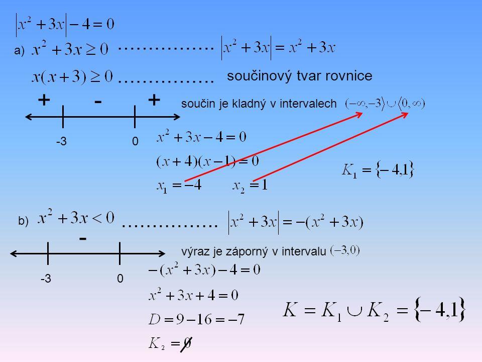 a) -30 +-+ ……………. ……………. součinový tvar rovnice součin je kladný v intervalech b) ……………. -30 - výraz je záporný v intervalu