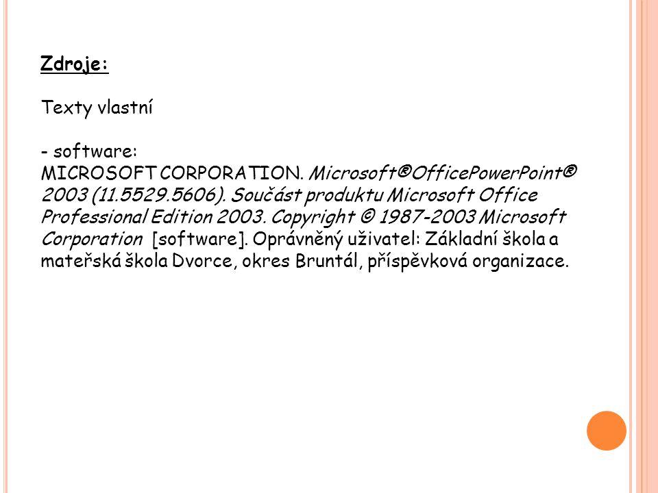 Zdroje: Texty vlastní - software: MICROSOFT CORPORATION. Microsoft®OfficePowerPoint® 2003 (11.5529.5606). Součást produktu Microsoft Office Profession