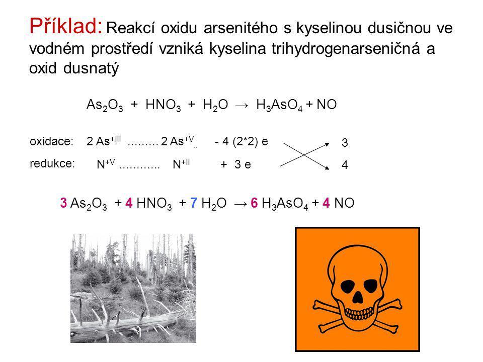 Příklad: Reakcí oxidu arsenitého s kyselinou dusičnou ve vodném prostředí vzniká kyselina trihydrogenarseničná a oxid dusnatý As 2 O 3 + HNO 3 + H 2 O → H 3 AsO 4 + NO 2 As +III.........
