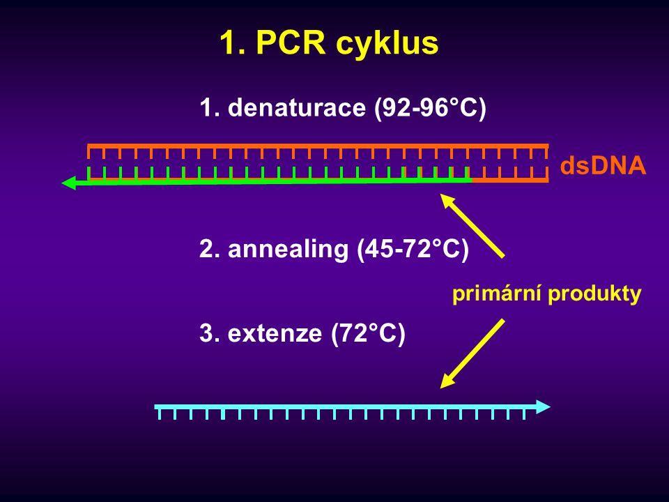 """Počet cyklů  analytická PCR – ne více než 40  nejčastěji 25-35 cyklů  vyšší počet cyklů vznik nespecifických artefaktů  vyčerpávání komponent reakce  degradace polymerázy i DNA Například při vyčerpání primerů se zbývající nukleotidy účastní syntézy nespecifických produktů, které vznikají po vzájemném annealingu již vzniklých amplikonů a výsledkem jsou delší amplifikační produkty vytvářející """"šmouhy na elektroforetickém gelu"""