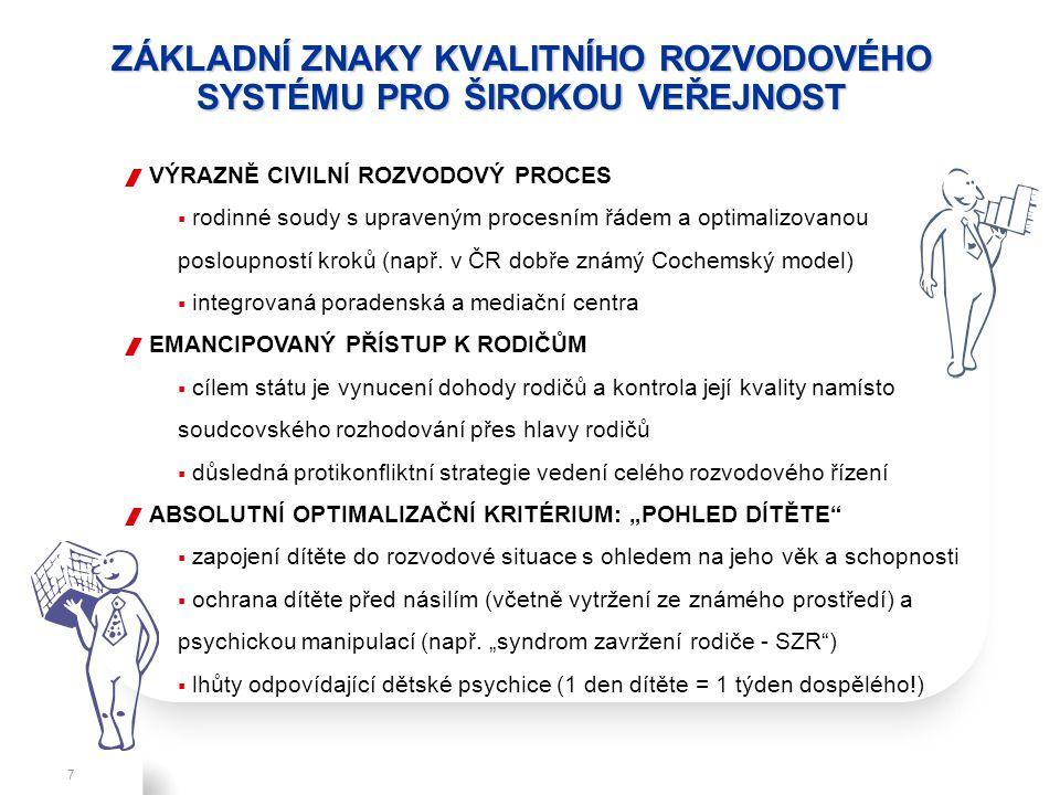 Refresh, V.10, July 2, 2010 ZÁKLADNÍ ZNAKY KVALITNÍHO ROZVODOVÉHO SYSTÉMU PRO ŠIROKOU VEŘEJNOST 7  VÝRAZNĚ CIVILNÍ ROZVODOVÝ PROCES  rodinné soudy s upraveným procesním řádem a optimalizovanou posloupností kroků (např.