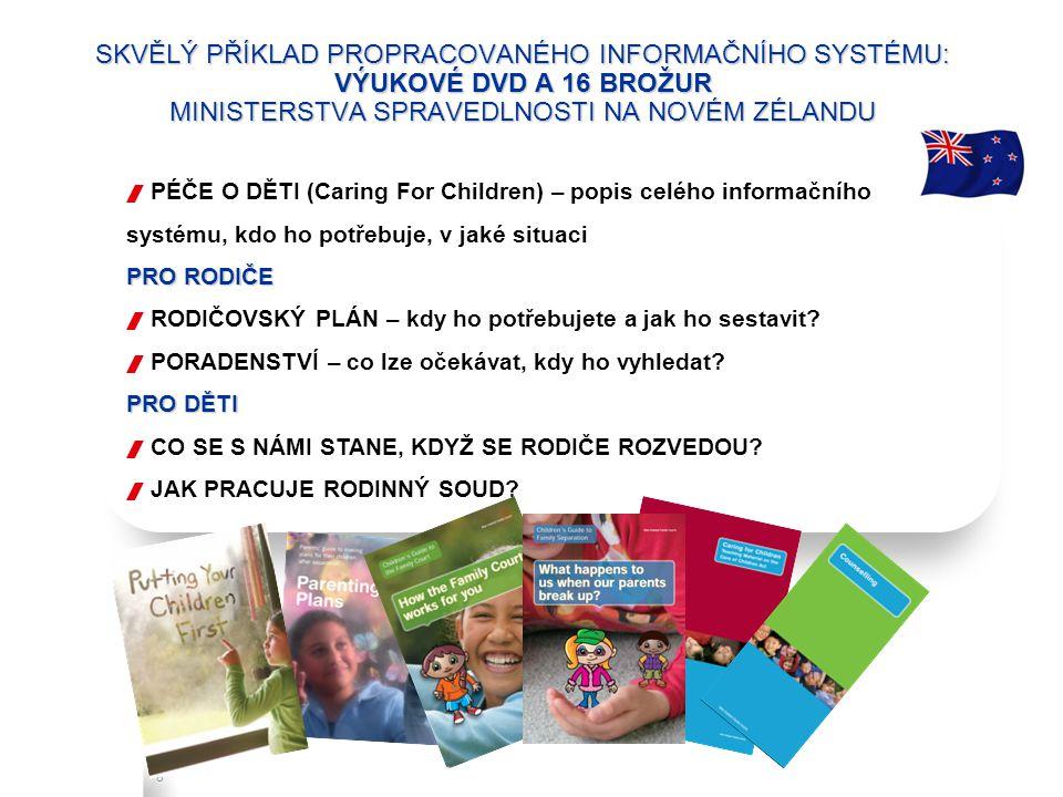Refresh, V.10, July 2, 2010 8 SKVĚLÝ PŘÍKLAD PROPRACOVANÉHO INFORMAČNÍHO SYSTÉMU: VÝUKOVÉ DVD A 16 BROŽUR MINISTERSTVA SPRAVEDLNOSTI NA NOVÉM ZÉLANDU PRO RODIČE  PÉČE O DĚTI (Caring For Children) – popis celého informačního systému, kdo ho potřebuje, v jaké situaci PRO RODIČE  RODIČOVSKÝ PLÁN – kdy ho potřebujete a jak ho sestavit.