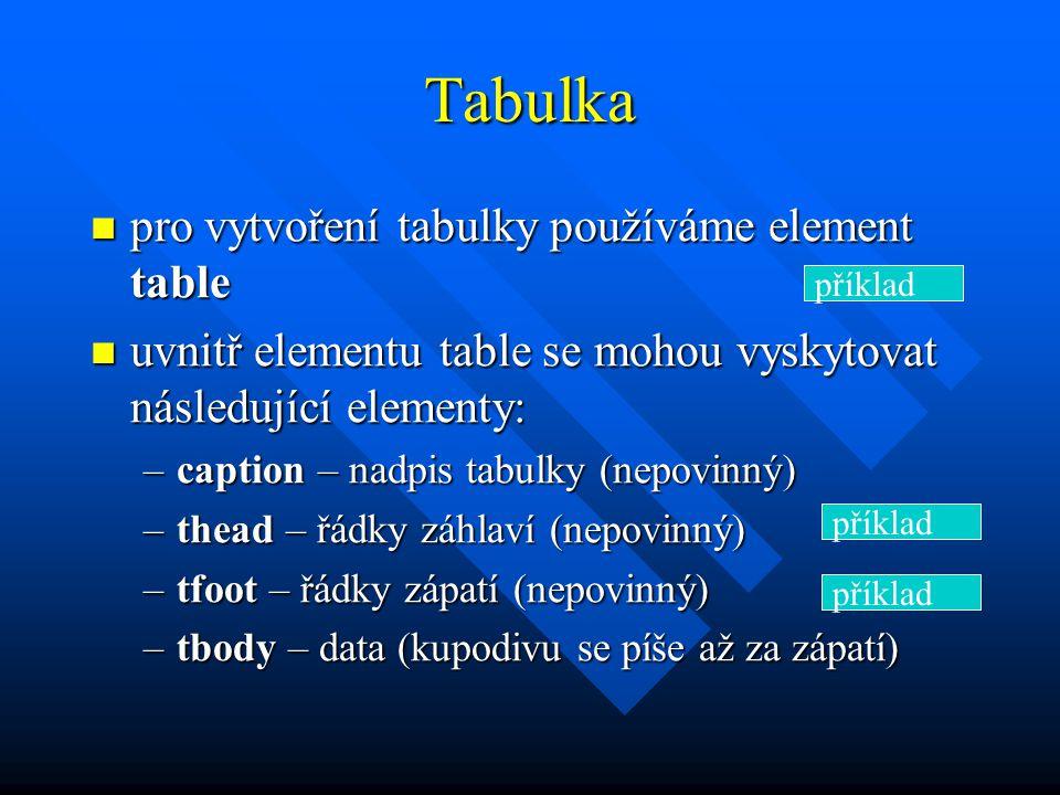 Tabulka pro vytvoření tabulky používáme element table pro vytvoření tabulky používáme element table uvnitř elementu table se mohou vyskytovat následující elementy: uvnitř elementu table se mohou vyskytovat následující elementy: –caption – nadpis tabulky (nepovinný) –thead – řádky záhlaví (nepovinný) –tfoot – řádky zápatí (nepovinný) –tbody – data (kupodivu se píše až za zápatí) příklad
